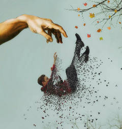 modernartstickerremix dispersion hand man falling freetoedit