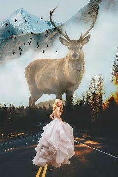 nature mountain deer girl mist freetoedit