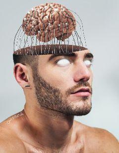 crazy surreal crepy men brain