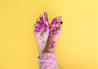 freetoedit hands glitter pink yellow