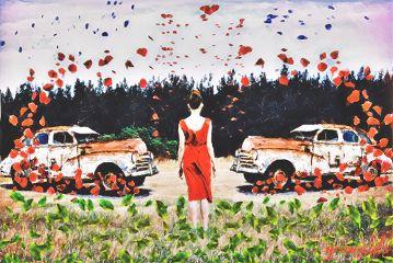 ladyinredremix freetoedit woman vintage car