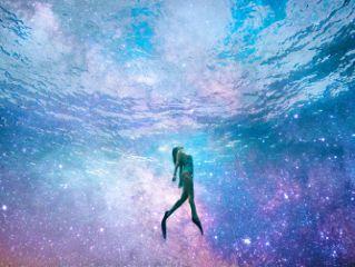 girl snorkel galaxy stars water freetoedit
