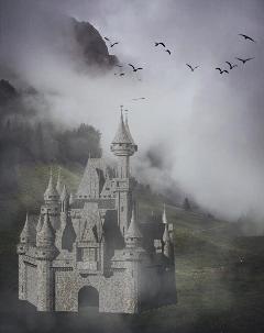 foggyremix freetoedit castle birds fog