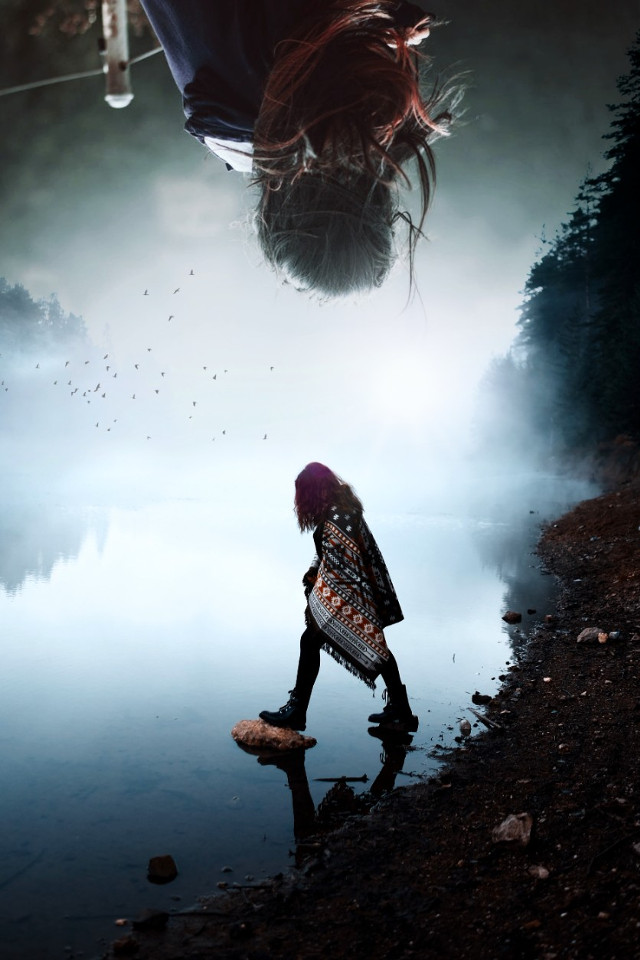 #woman #girl #surrealism #surreal #doubleexposure #photography #pa #picsart #blending #nature #glare #birds #upsidedown girl photo found on unsplash.