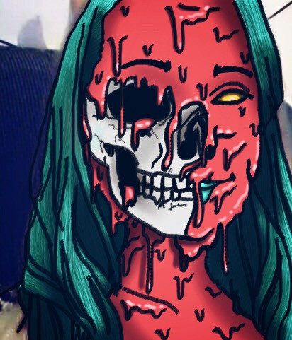 #friend #grime #grimeart #zombie #skull #drawing #interesting #people #scary #woman #melting #goopy #freetoedit
