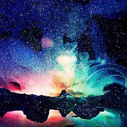 freetoedit colorful mountainscape rainbowsky starsaremagical