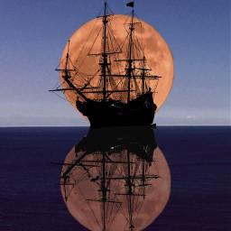 ship schiff moon sailing freetoedit