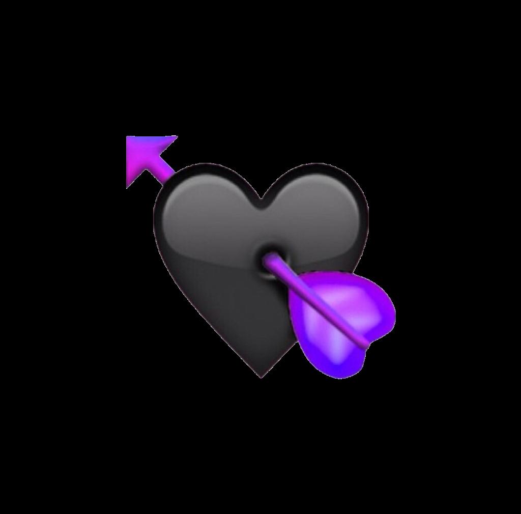 emoji heart black purple freetouse freetoedit remixit
