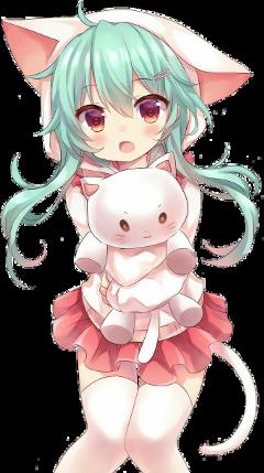 gato nya kawaii anime girl freetoedit