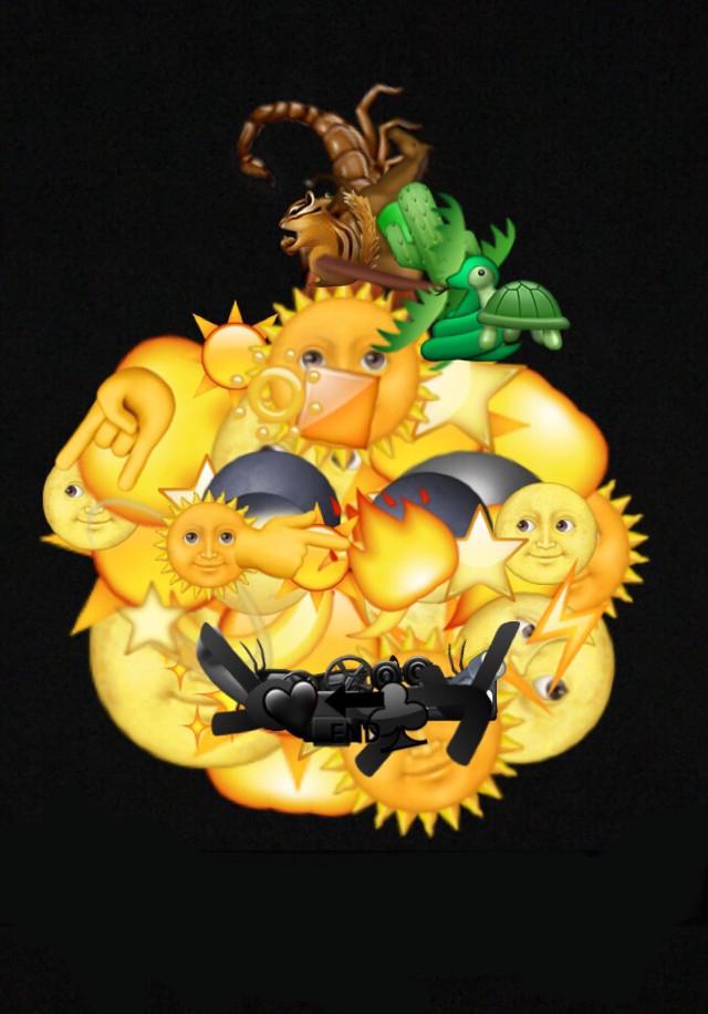 Emojisalad: today: pumpkin 😄🎃 #icyx #pumpkin #emoji #yellow #black #brown #green #halloween #art #emojiart #picsart @pa