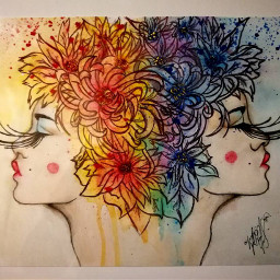 girl art flowers colors colourful