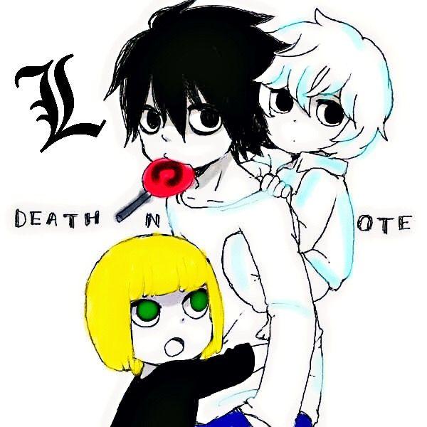 freetoedit deathnote near mello l kawaii lollypop