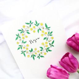 calligraphy flatlay white flowers