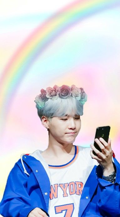 Yoongi Wallpaper Bts Suga Pastel Rainbow