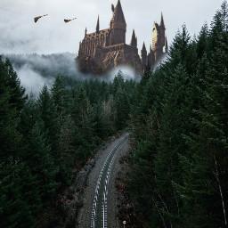 railroadtracks railroadtrack hogwarts broomstick hp freetoedit