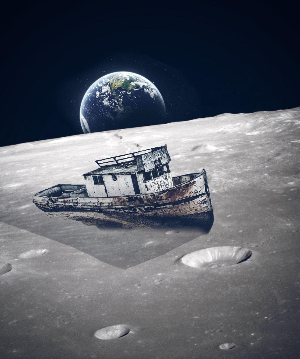 Naufragio en la luna. #freetoedit #moon #earth #space #naufragio @ria40 @niel86