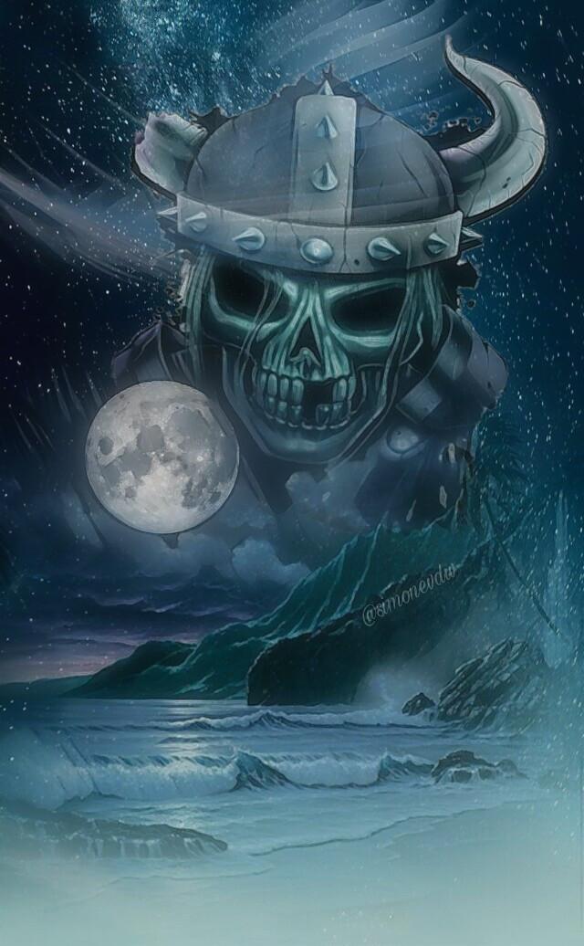 #skull #darkart #myartwork #moon