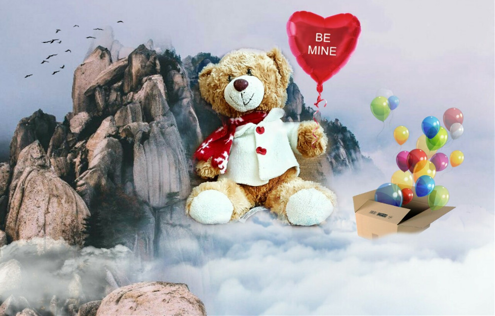Be mine 💞   #edited #doubleexposure #bear #clouds #balloons #box  Op @taurobcn @edwincruz16 @janeheryplatine1 @freetoedit