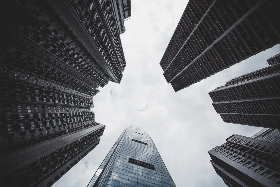 Remix your imagination into this image! Unsplash (Public Domain) #FreeToEdit #urban #skyscrapers #sky #clouds #round #cool #grey