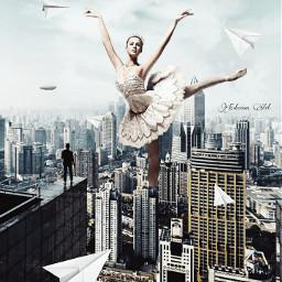 surrealism surreal city remixit ballerina freetoedit