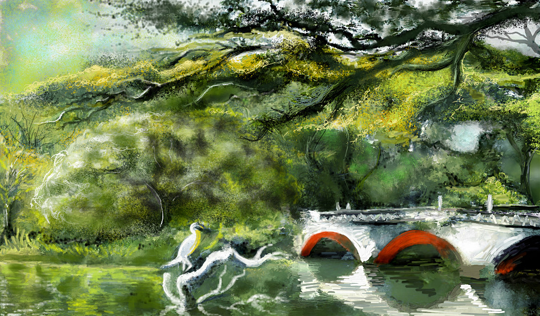Hey guys ! I'mm posting after a super-long break !!!! Painted this on my tablet today inspired by my early-morning run in the rains today...Enjoy ! Thanks for the  likes ! #mydrawing #digitaldrawing #nature #bridge