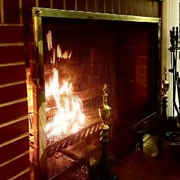 pcfireplace fireplace brass brick freetoedit