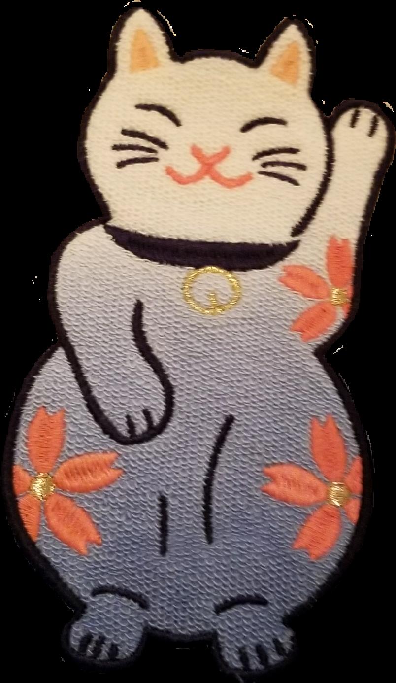 #cat #luckycat #goodluck #japanese #japanese luckycat #sakura #cherryblossom #blue #pink #flower #fabrictexture #texture