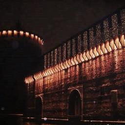 night dark lights castle castellosforzesco