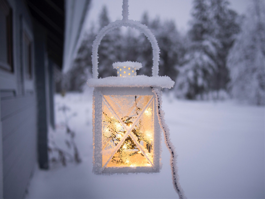 You only fail when you stop trying! Try remixing! Unsplash (Public Domain) #FreeToEdit #light #lamp #lantern #white #snow #trees #nature #yellow #magical #miracle #snowflakes