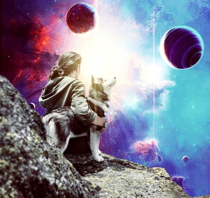 #man #dog #rock #cliff #planets #galaxy #photography #surreal #glare #stars #space #pa #picsart