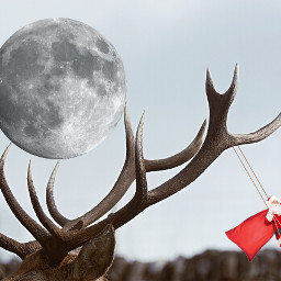 deerremix freetoedit moon santaclaus