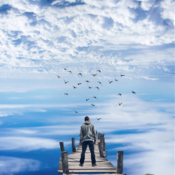 man clouds sky bridge birds standing blue beauty onewithnature peaceful nature