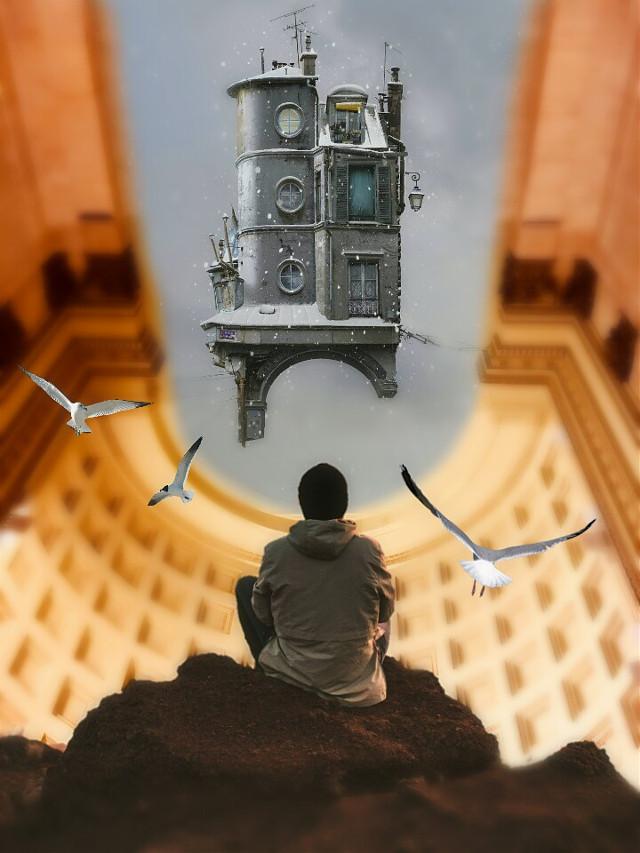 #building #levitation #house #boy #people @picsart @freetoedit #surreal #surrealist #myedit