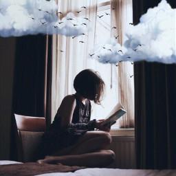 read book clouds birds girl freetoedit
