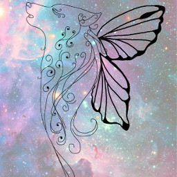 freetoedit fantasy wolf butterfly galaxy