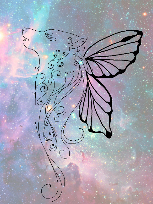 #freetoedit #fantasy #wolf #butterfly #galaxy #sketched #art #interesting