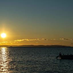 boat sunset sea