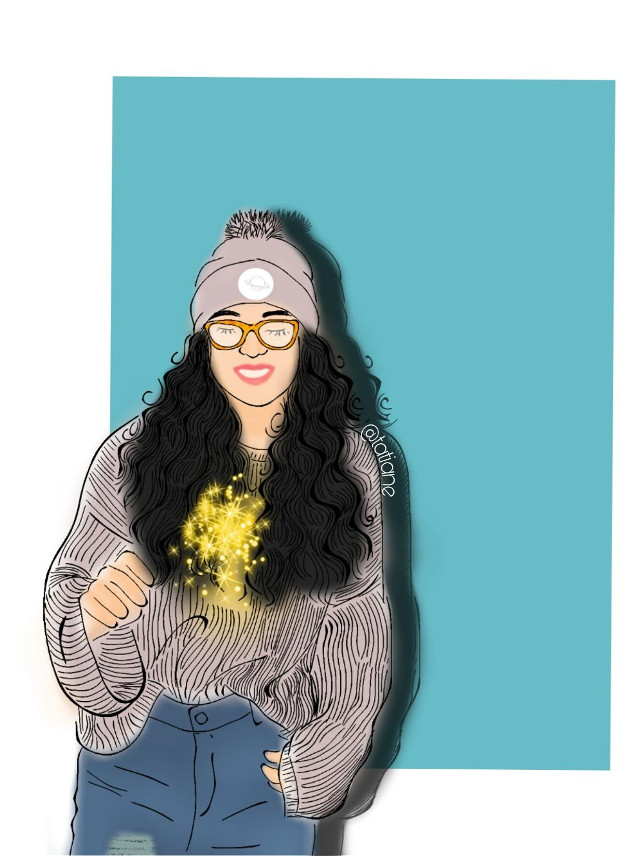 Curly hair, don't care. We're totally digging this beautiful drawing. Talented artist @tatianebelarmino has captured the perfect outfit complete with the beanie, comfy sweater, and all. Feel free to remix away or share your own artistic masterpiece. #Girl #Glasses #Beanie #Sweater #Firecracker #Remix #Draw #Drawing