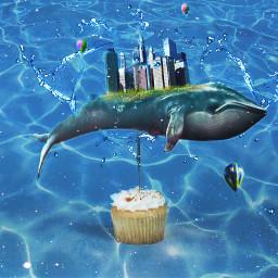 freetoedit whale water cupcake balloons