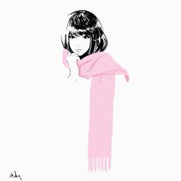 Girl Pink Scarf Hand Draw