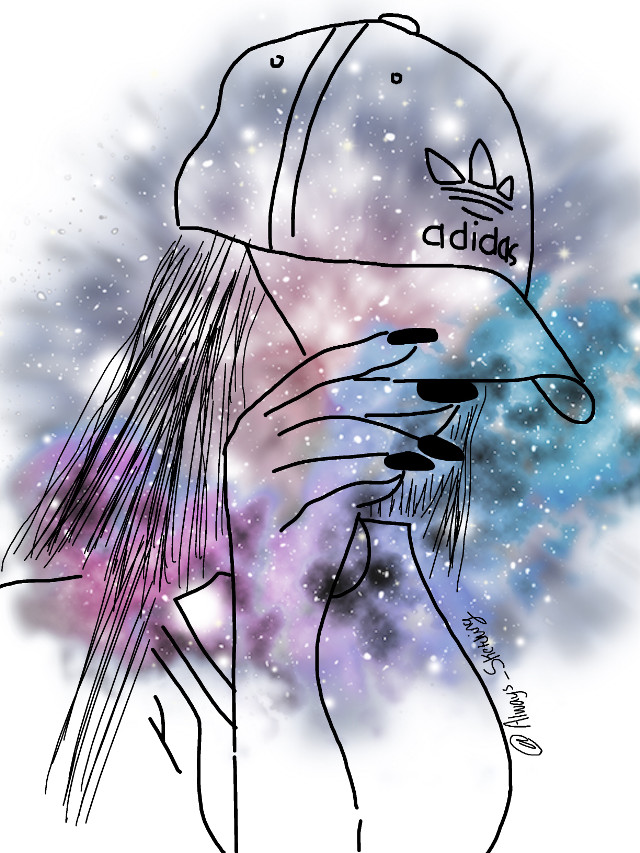#tumblr #sketched #galaxy #adidas #freetoedit #hat #hand #girl