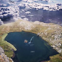 freetoedit landscape lake upinthesky sky