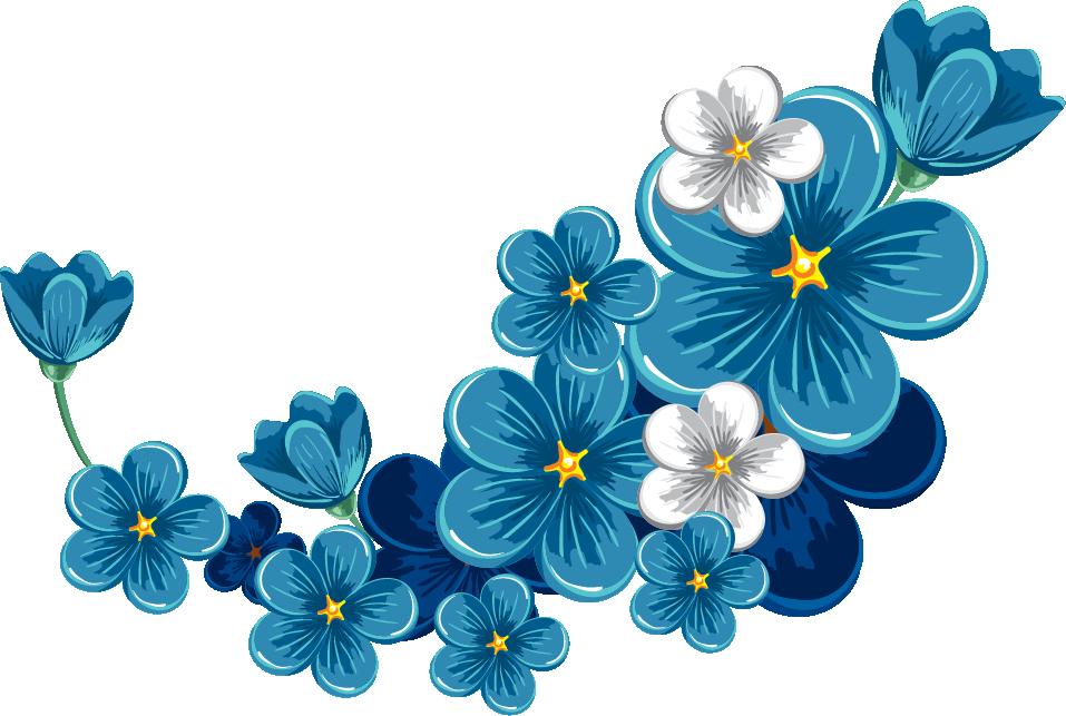 Bloom Flower Blue Frame Border Flowers White Bouquet