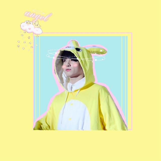 Jungook 💕👼#jungkook #jk#bts #btsjungkook #kigurumi #kawaii #cute #pastel #yellow #pink #blue #kpop #kpopedit #kpopidol #model