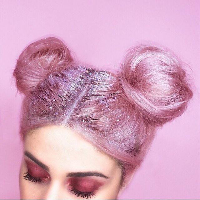 #buns #hair #makeup #glitter #pink #cute #onfleek #freetoedit