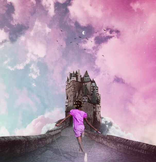 4th place!! 😄🙋 #echaitiislove #haitiislove #myedit #dreamy #madewithpicsart #madebyme #castle #fairytale #moon #magical #clouds #colorfulsky @picsart