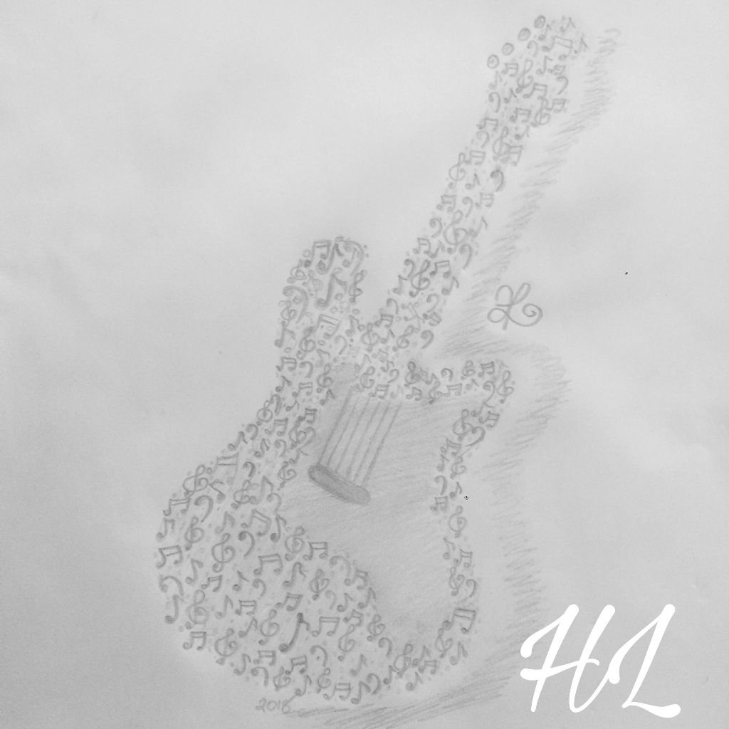 Freetoedit cool pencil drawing guitar music