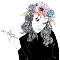 girl tumblergirl tumbleroutline flowerheadbands outlines freetoedit