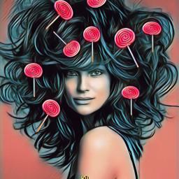 lollipopstickerremix lady hair magictool coloured freetoedit