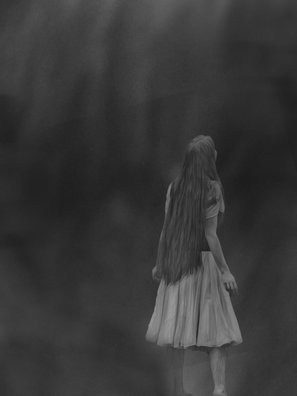 Freetoedit Gray Alone Girl Sad Ghostly Lost Blackandwhi